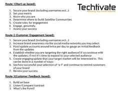 Does your #Business/#Startup know which #SocialMedia route to take? Try the 'Techtivate Strategy System'.