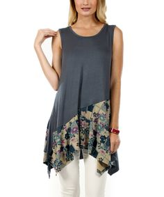 Look at this Gray Floral Handkerchief Tunic on #zulily today!