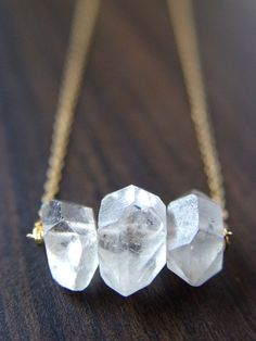 Herkimer Diamond Druzy Trio Gold Necklace by friedasophie on Etsy, $56.00