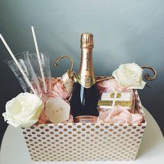 For J + B ✨ #giftbasket #giftbox #engagementgift #engaged #engagement #bhldn #bhldnweddings #pottery #ringholder #stylemepretty #roses #champagne #champagnetoast #pretty #pink #gold #perrierjouet #minimergency #bride
