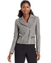 Lunch Break: Asymmetrical Zip-front Tweed Jacket