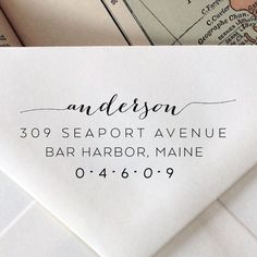 Custom Address Stamp: Wedding Calligraphy, Monogram, Wood Stamp, Engraved, Wedding Stationary, Return Address