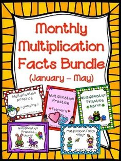 Multiplication Facts - practice pages and games for January through May
