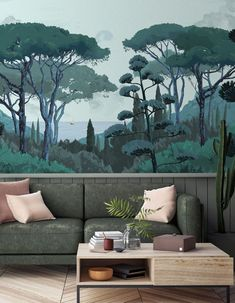 The most beautiful cocooning salons to copy for a sweet winter - deco Rustic Wooden Coffee Table, Wooden Tables, Pantone Green, Archi Design, Salon Style, Wall Treatments, Decoration, Interior Inspiration, Wall Murals