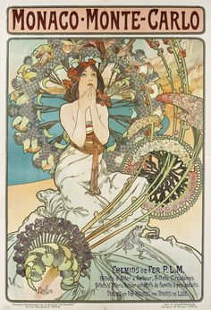 Alphonse Mucha. Monaco Monte Carlo. 1897. Color lithograph. 108 x 74.5 cm.