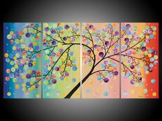 """Original Modern Abstract Heavy Texture Impasto Acrylic Canvas Painting Landscape Tree Branches """"The Magic Tree IV"""""""