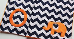 Orange and Navy Chevron Elephant Blanket With by mylittlemookie, $49.00