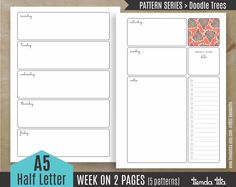 Printable Planner Week on 2 pages / 5 patterns - Doodle Trees | A5/Half size letter - 300 dpi JPG & PDF files by tiendatita on Etsy