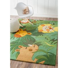 Kids Green Area Rug With Animals