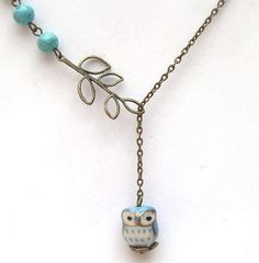 Antiqued Brass Leaf Turquoise Porcelain Owl