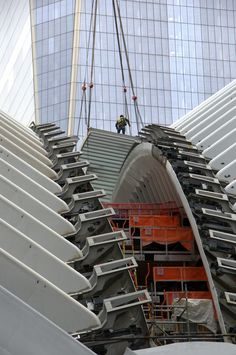 """""""Installation of the Skylight at the World Trade Center Transit Hall commences. Santiago Calatrava, World Trade Center, City Photography, Skylight, Urban Design, Architecture, Transportation, New York, Building"""
