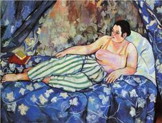 The vibrancy and color of Paris. (The Blue Room by Suzanne Valadon. In Valadon became the first woman painter admitted to the Société Nationale des Beaux-Arts. She was also the mother of painter Maurice Utrillo. Henri Matisse, Pablo Picasso, Renoir, Maurice Utrillo, Seattle Art Museum, Henri De Toulouse Lautrec, Impressionist Artists, Kunst Poster, Blue Rooms