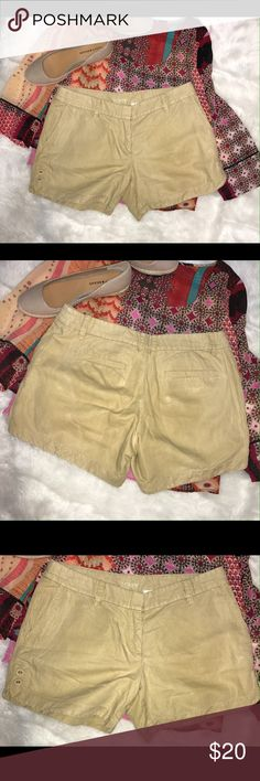 """J Crew shorts linen/cotton J Crew shorts,  4 pockets Button detailing on each leg in the front. Front zipper  16"""" waist side to side 8"""" rise 12"""" long at side 4.5"""" inseam 55% linen, 45% cotton No stains or tears; from smoke free home  (my item M8) J. Crew Shorts"""
