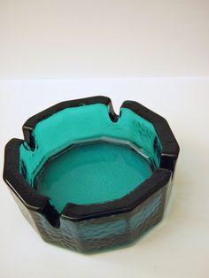 Vintage Teal Glass Ashtray.