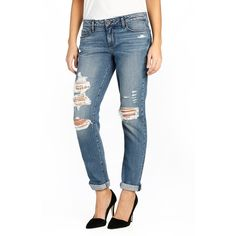 Women's Paige 'Jimmy Jimmy' Destroyed Skinny Jeans (4,130 MXN) ❤ liked on Polyvore featuring jeans, westley destructed, relaxed fit jeans, blue ripped jeans, skinny jeans, ripped jeans and distressed skinny jeans