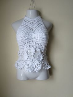 Crochet halter top WHITE crochet top White by Elegantcrochets, $58