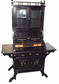 Circa 1880 Anglo-Japanese Ebonized Secretary from Circa Antiques Ltd. of Brooklyn.