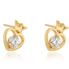 11mm 18K Gold Plated Fashion Heart Design Inlaid Zircon Ladies Copper Earrings