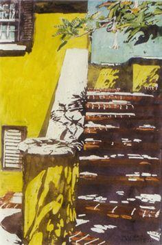 "wraparound shadows devon's 16"" x 10""  micheal zarowsky / watercolour on arches paper / (private collection)"