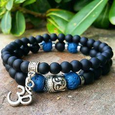 Mens Buddha, Om Bracelet Set, Matt Black Onyx, Blue Lava Stone, Men's Buddha Bracelet, Om Bracelet, Mala, Yoga, Boho Jewelry, Prayer Beads