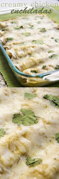 The BEST creamy chicken green chile enchiladas! Everyone loves this recipe.