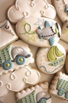 Cute Airplane and Sail Boat Cookies