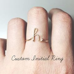 Custom Initial ring sterling silver letter ring/gold fill