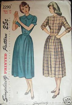 vintage shirtdress pattern (These & JC Penney when we could afford it...)
