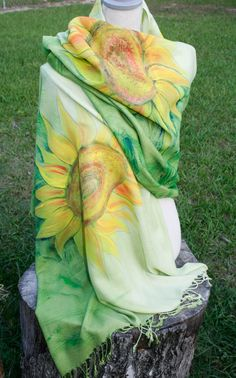 Hand painted sarong / throw blanket / wrap shawl by Marutxi
