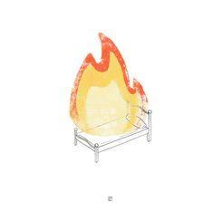 """""""Hogar"""", ilustración para la exposición colectiva multidisciplinar """"Hogares Imaginados"""", organizada por Gra de Groc Col·lectiu - Plumilla y linografía - Laura Rico"""