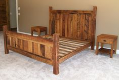 Custom Bed Frame Made From Reclaimed Wormy by BarnWoodFurniture, $945.00