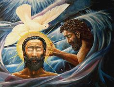 Miracles of Jesus: The Holy Spirit Appears as a Dove During Christ's Baptism: The Holy Spirit appearing in the form of a dove at Jesus Christ's baptism in the Jordan River