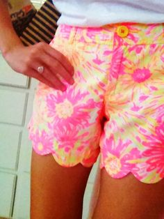 Lilly Pulitzer pink & yellow scalloped shorts-- totally adorable!