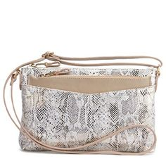 The Octavia cross-body handbag by Naturalizer, made of metallic faux snakeskin.