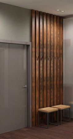 Best Picture For entrance garderobe For Your Taste You are looking for something, and it is going to tell you exactly what you are looking for, Flur Design, Hall Design, Slat Wall, Wall Treatments, Wooden Walls, Wood Paneling, Living Room Decor, Entrance, Furniture Design