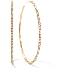 Stardust Extra Large Hoop Earrings in 18K Gold with Diamonds ($6,500) ❤ liked on Polyvore featuring jewelry, earrings, yellow gold diamond earrings, gold earrings, 18k earrings, oversized hoop earrings and 18 karat gold earrings
