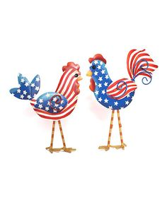 Take a look at this Patriotic Chicken Figurine Set by The Round Top Collection on #zulily today!