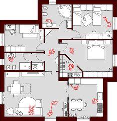 Piantina Casa 100 Mq Case Unifamiliari Nel 2019 Floor Plans
