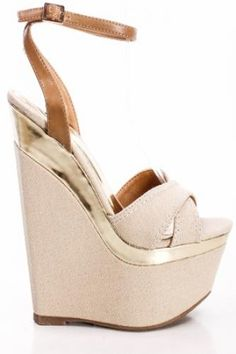 NUDE FABRIC OPEN TOE WEDGES WITH GOLD DETAILING