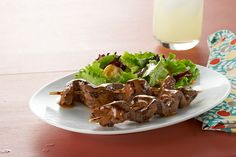 The beauty of this kabob recipe is the thin strips of meat that soak up the sauce's tangy flavor.