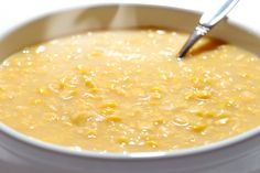Recipe including course(s): Side; and ingredients: bacon grease, black pepper, butter, corn, flour, heavy cream, salt, sugar, water