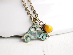 Love Bug- Volkswagen Bug, VW, Brass Pendant, Yellow, Turquoise $28