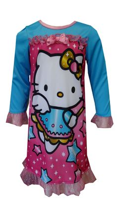 Hello Kitty Sweet Little Angel Toddler Night Gown So cute! These flame resistant nightgowns for toddler girls feature Hello Kitty dressed as an angel. Sparkly pink ruffle trim on the sleeves and bottom hem adds nice detailing. Machine wash, easy care.