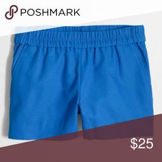 "JCrew Pull On Blue Shorts Cotton. Sits just above hip. 3"" inseam. Elastic waistband. Slant pockets. J. Crew Shorts"