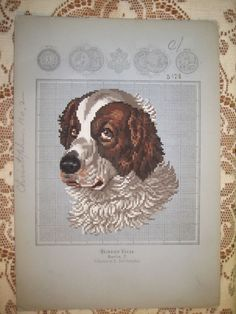 ANTIQUE 1879 BERLIN KUEHN HAND PAINTED WOOL WORK EMBROIDERY TAPESTRY PATTERN dog