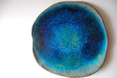 Planet Earth Blue Plate Organic Shapped Modern Unique home decor ceramic plate
