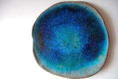 Planet Earth Blue Plate Organic Shapped Modern Unique home decor ceramic plate