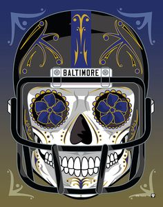 """""""Baltimore Ravens"""" Sugar Skull Day of the Dead Calavera Print Inspired by the professional football team"""