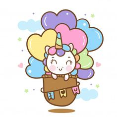 Cute unicorn on hot air balloon Premium . Girly Drawings, Art Drawings For Kids, Cute Kawaii Drawings, Drawing For Kids, Easy Drawings, Unicorn Painting, Unicorn Drawing, Unicorn Art, Cute Unicorn