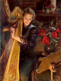 Harpist with Roses.
